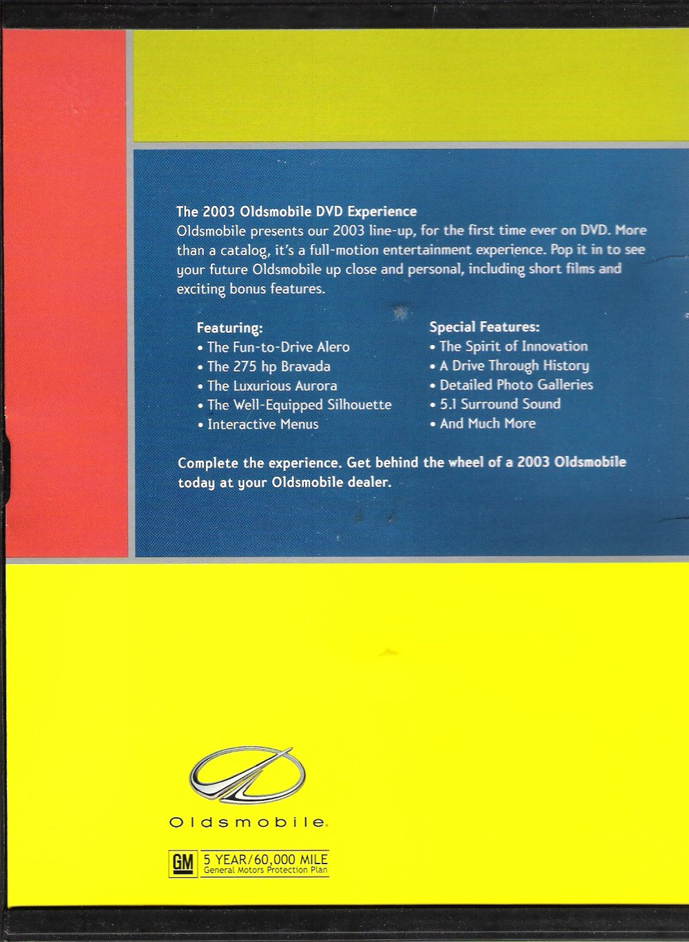 National Auto Show - GM Oldsmobile Catalog DVD Experience (back cover)