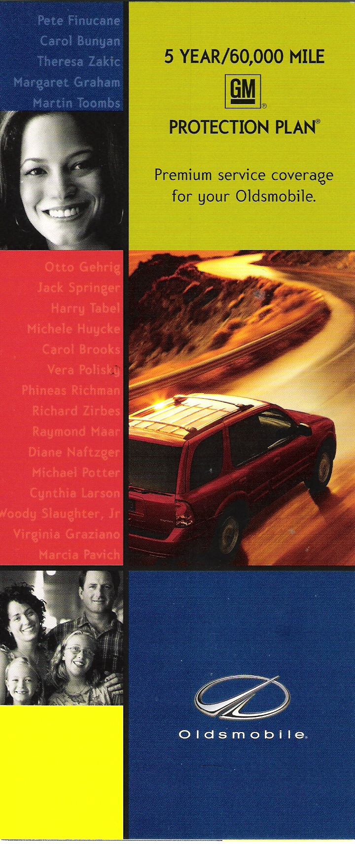 GM Oldsmobile - 5 Year/60,000 mile GM protection plan brochure (front cover)