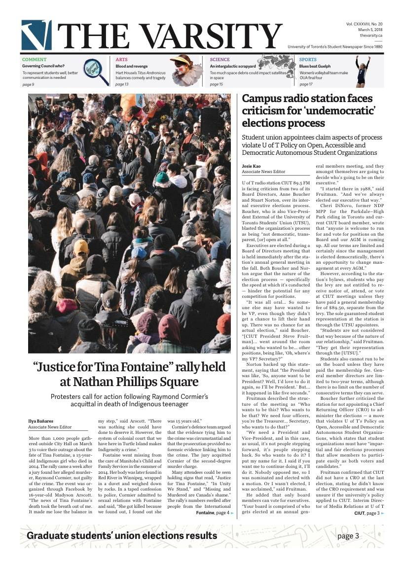 Front page photo for  The Varsity , 5 March 2018.