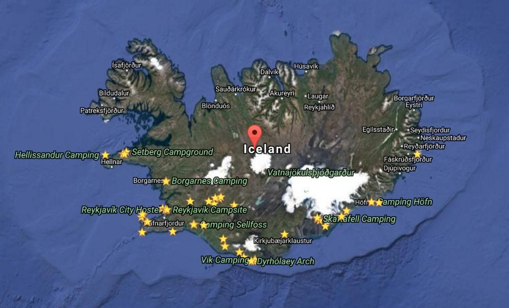 We travel the entire South Coast of Iceland - from West to East including the Golden Circle - and then back again. See our locations    here   .