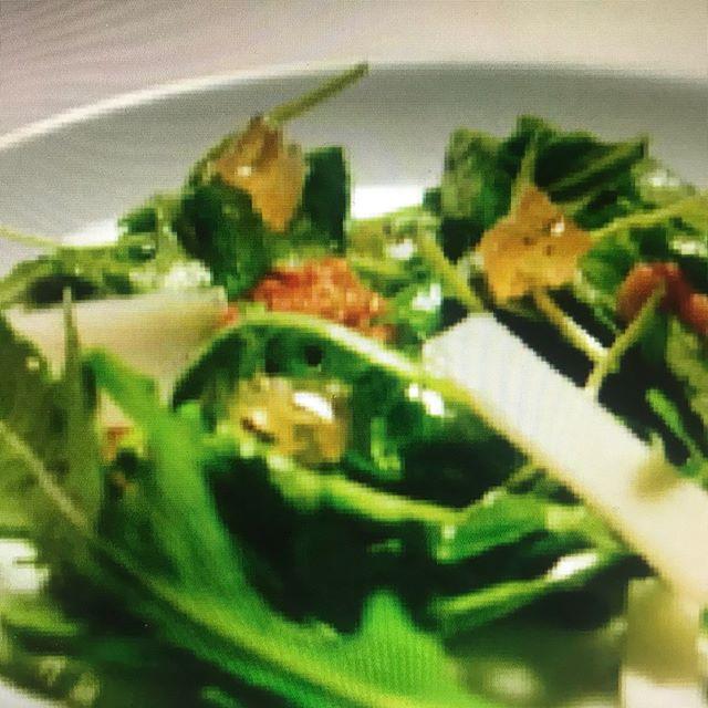 Candied honey comb arugula salad with truffled pecorino cheese #honey comb #salad #gourmethoney