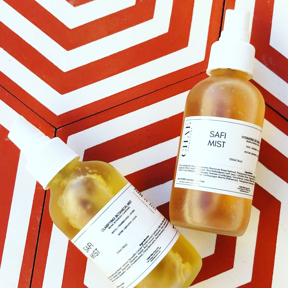 SAFI BOTANICAL MIST  $38  A NUTRIENT-RICH BLEND OF FLORAL DISTILLATES + BOTANICAL EXTRACTS TO BOOST HYDRATION + RESTORE PH BALANCE. AVAILABLE IN CLARIFYING (NEROLI|FRANKINCENSE|MYRRH) AND HYDRATING (MOROCCAN ROSE|GERANIUM|VETIVER).