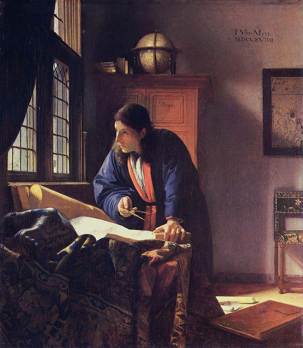 Johannes Vermeer,  The Geographer, 1669, oil on canvas, 51.6 x 45.4 cm,Städel Museum, Frankfurt am Main.