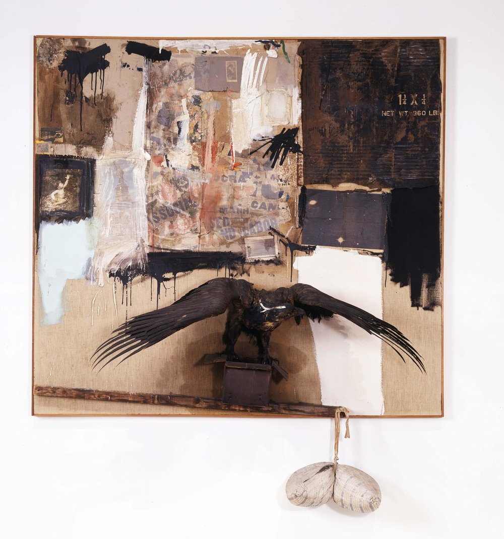 Robert Rauschenberg, Canyon, 1959, Combine: oil, pencil, paper, fabric, metal, cardboard box, printed paper, printed reproductions, photograph, wood, paint tube, and mirror on canvas with oil on bald eagle, string, and pillow, 81 3/4 x 70 x 24 inches, (207.6 x 177.8 x 61 cm), The Museum of Modern Art, New York, Gift of the family of Ileana Sonnabend. RRF 59.008.