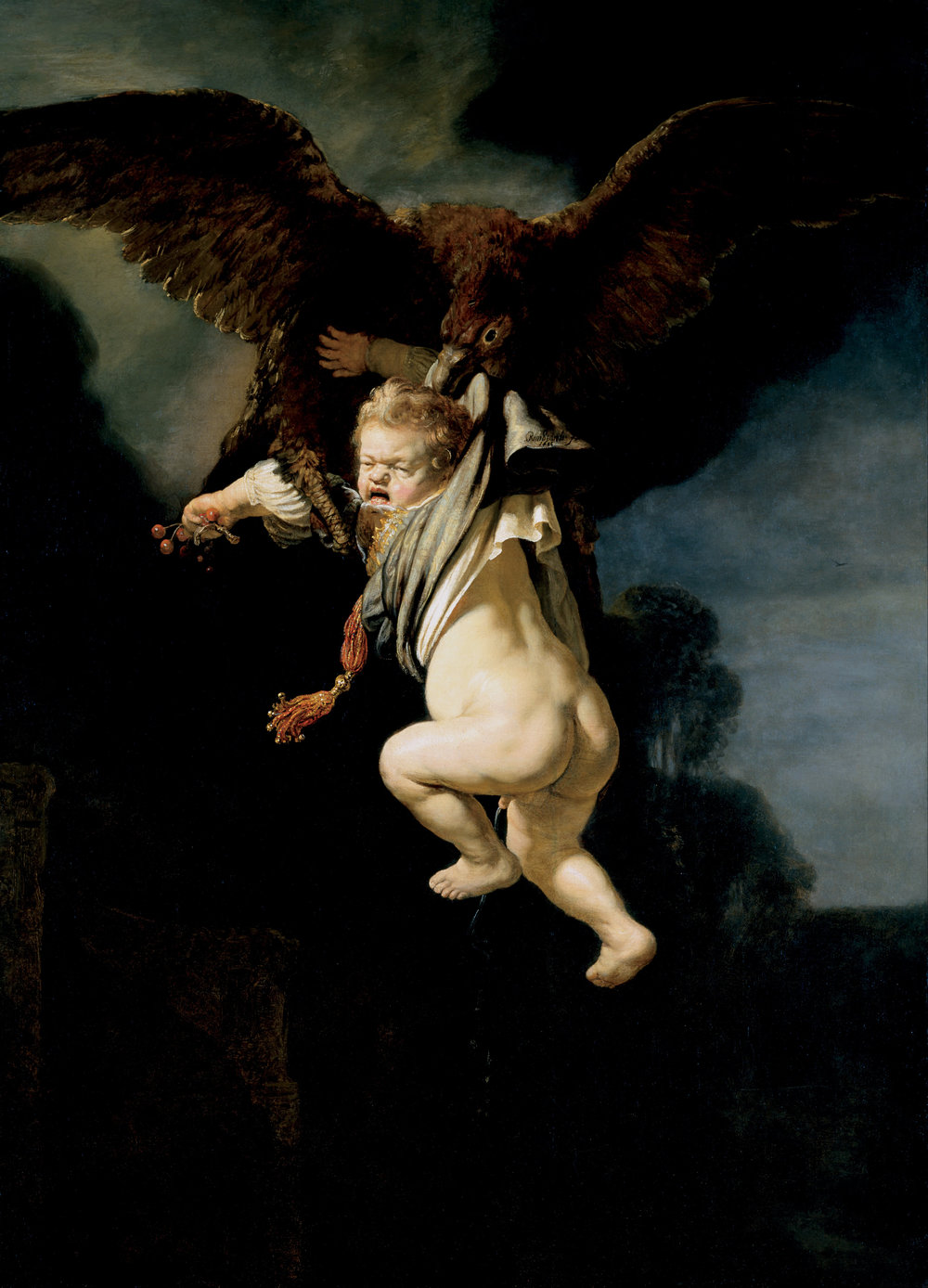 Rembrandt van Rijn,  The Abduction of Ganymede,  1635, oil on panel, 177 cm v. 130 cm (70 in x 51 in), Staatliche Kunstsammlungen Dresden, Dresden.