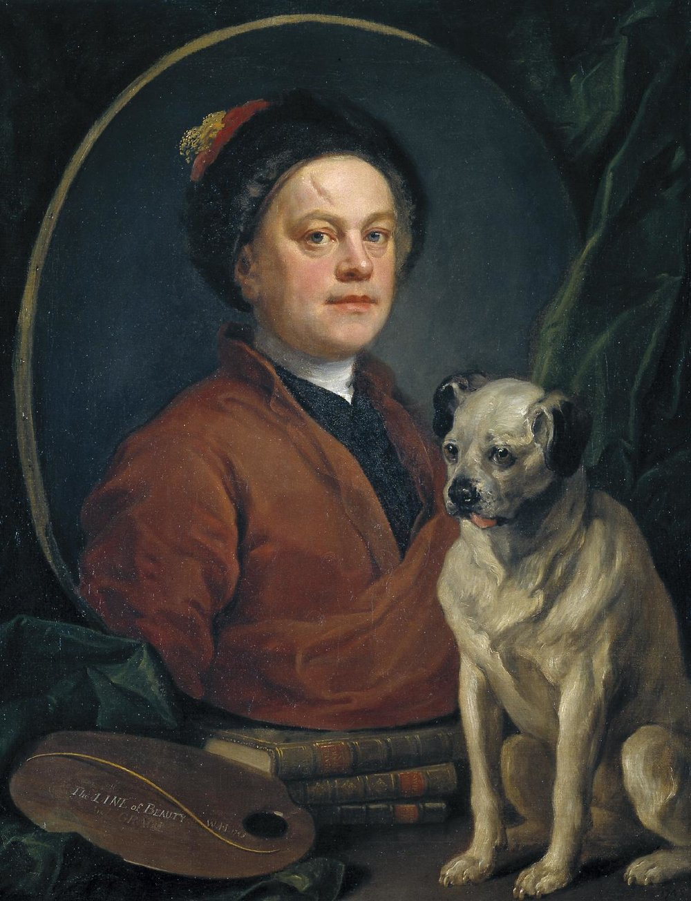 William Hogarth,  The Painter and his Pug,  1745, oil on canvas, 90 x 69.9 cm, Tate.