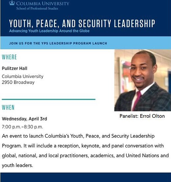 😁 I'll be joining a powerful dialogue at Columbia University's School of Professional Studies, as they launch the YPS Program. This will equip youth with the tools, research, and practice they need to amplify their work! 🌍 ⠀ ⠀⠀⠀⠀⠀⠀⠀⠀⠀⠀ ⠀⠀⠀⠀⠀⠀⠀⠀⠀⠀ ⠀ ⠀ ⠀ {#Youth #ColumbiaUniversity #Leadership #Peace #Security #NYC #Global #Panelist #Peace}