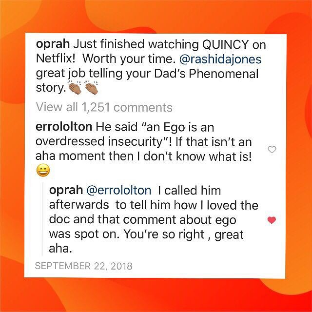 Yes!!: Who knew that on the night of my #NAACP Community award, @Oprah and I would share an aha moment!!!! ⠀ 🔸Months after seeing her at the @ApolloTheater in Harlem!⠀ ⠀ 🔸#VisionBoard manifesting works! ⠀ ⠀⠀⠀⠀⠀⠀⠀⠀⠀⠀ 🔸Luck = Hard work meets the moment of opportunity (the doc is all about that & living a purposeful life)⠀ ⠀⠀⠀⠀⠀⠀⠀⠀⠀ ⠀ ⠀⠀⠀⠀⠀⠀⠀⠀⠀⠀ ⠀⠀⠀⠀⠀⠀⠀⠀⠀⠀ 👋🏾{@Netflix} {@QuincyDJones} {@RashidaJones} {#Goals} {#Motivation} {#AhaMoment} {@OprahMagazine} {#TBT} {#Quote} {#Oprah} {#QuincyJones} {#NYCCommunity} {#CommunityImpact} {#Harlem} {#Dreams}