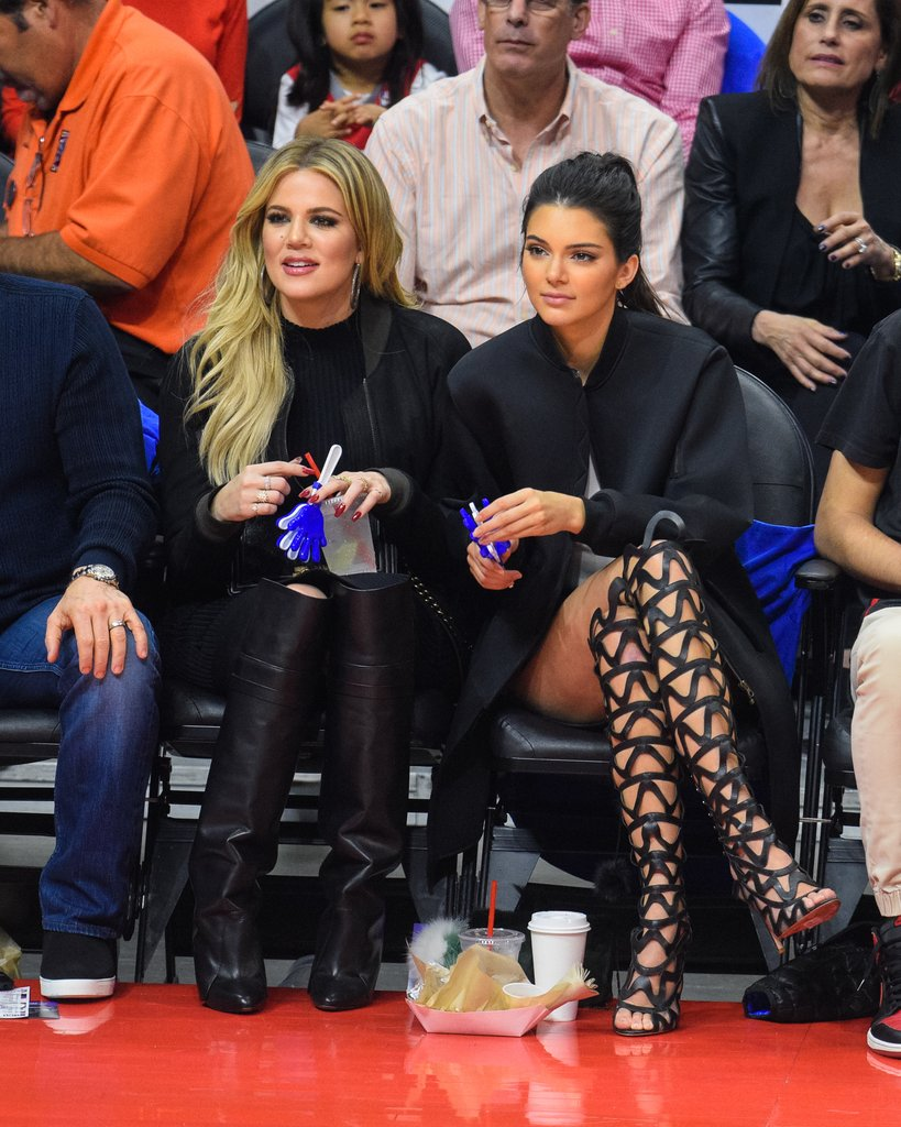 Kendall rocked Sophia Webster caged heels to the LA Clippers game with sister Khloe Kardashian in 2015.