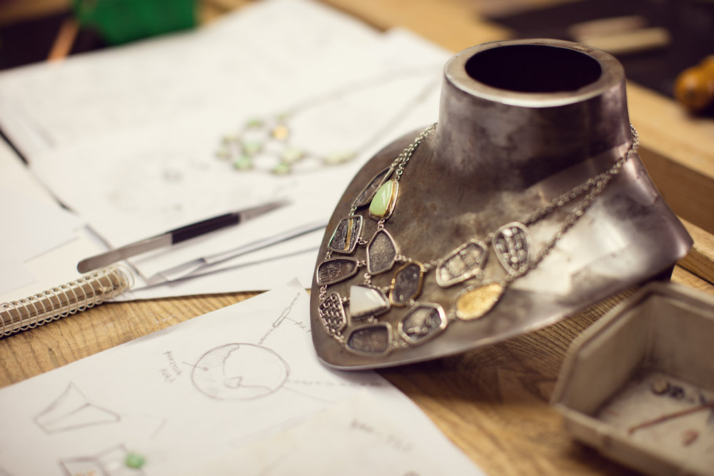 Start with Ideas and Sketches... - First we compile ideas - what speaks to you? What aesthetic do you want? Are you looking for 14k gold? Sterling silver? Diamonds or sapphires? Together we figure out exactly what you want your finished piece to become.