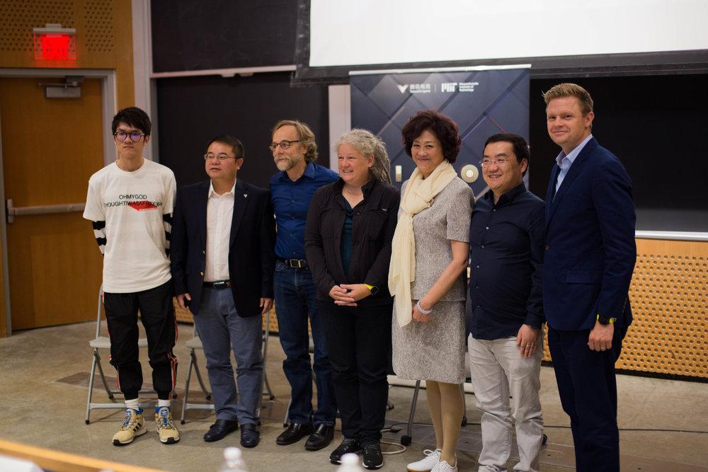 "From left to right: Yu ""Misaya"" Jingxi, Mars Hou,Scot Osterweil, TL Taylor, Lu Jingchao, Sage Huang, John Lasker"