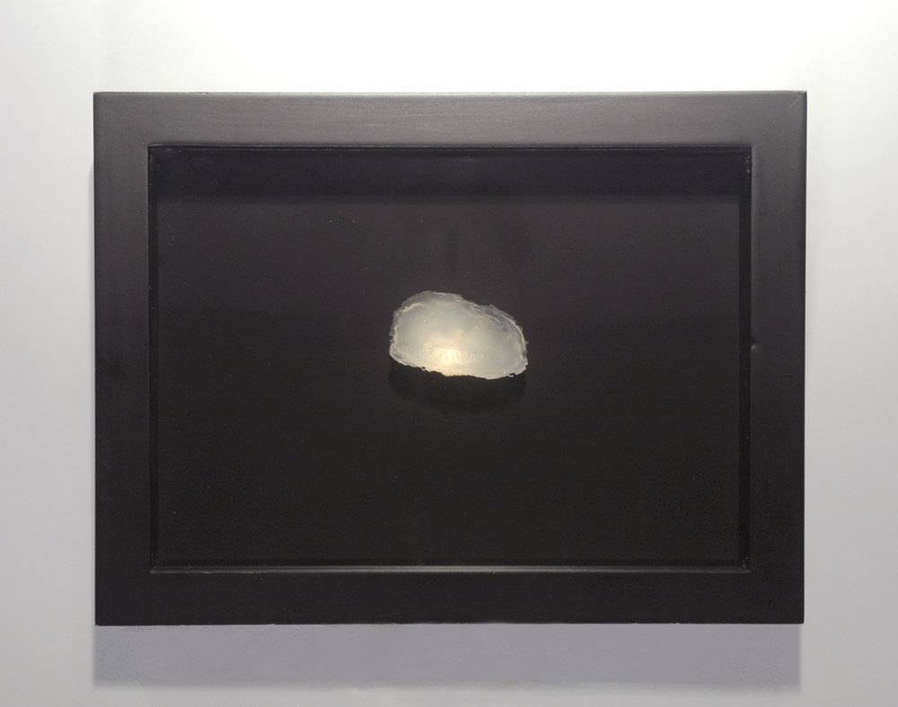 Samples, Michelle's Eye , 2003, silicone imprint, light and box frame.