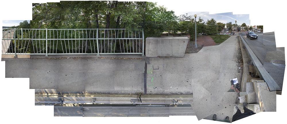 "Streams Key Bridge, Key Bridge , Washington DC Composite panorama, archival digital print, 90x 200"""