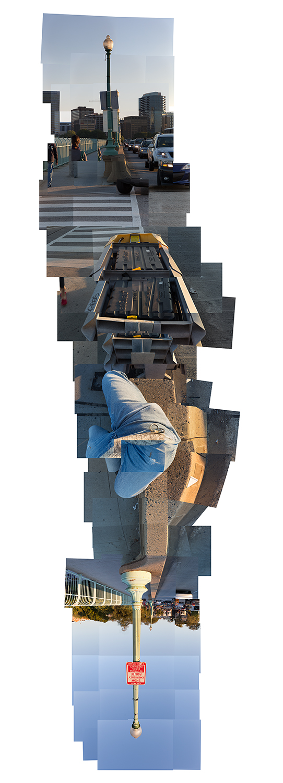"Streams Key Bridge , vertical flipped panorama, 10-16-2012. Archival digital print, 90"" x 24"""