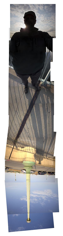 "Streams Key Bridge , vertical flipped panorama, 9-25-2012-01. Archival digital print, 90"" x 24"""