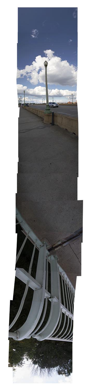 "Streams Key Bridge , vertical flipped panorama, 9-9-2012. Archival digital print, 90"" x 24"""