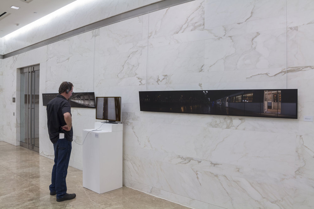 Metro Rail  site specific installation with archival digital photographic prints mounted on DiBond and video at the Heurich Gallery, Washington DC, 2014.