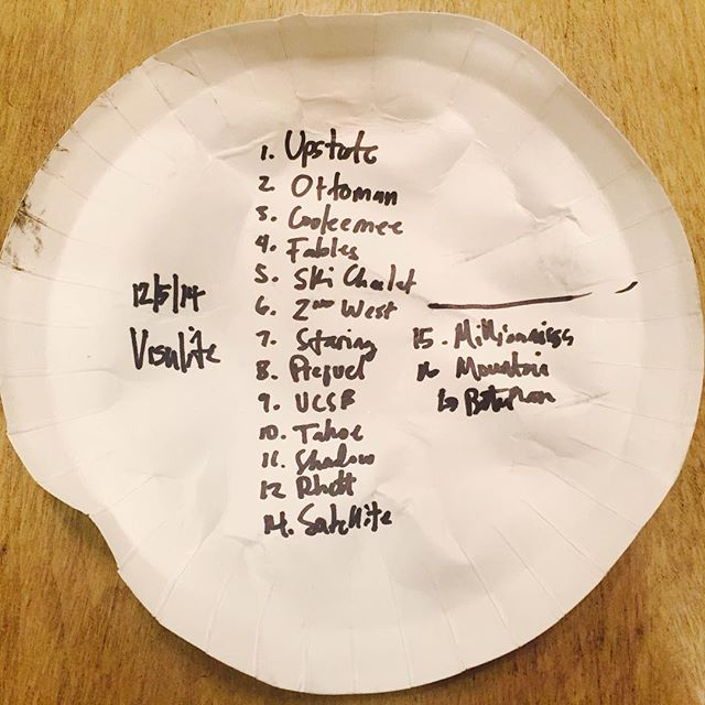 Sometimes you write the setlist on whatever is available.  We're back at @visulitetheatre on 12/4/15...364 days later.