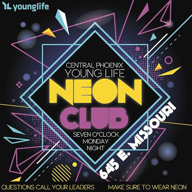 Young Life is back this Monday!!! Tell a friend or 10. Club starts at 7PM so make sure you're there before so you don't miss any of it.