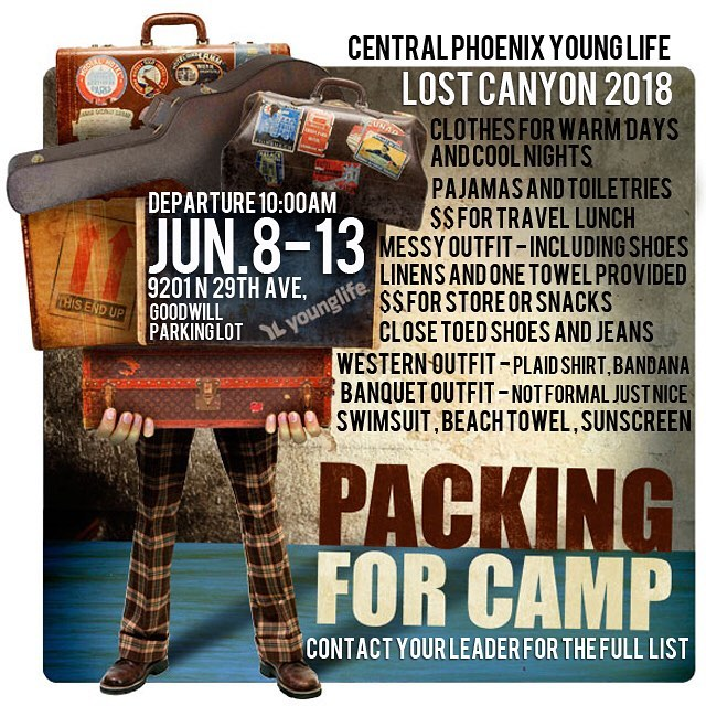 Camp is coming!  Camp is coming!! That means it's time to start packing. Your leader has the detailed list but this will get you started. #cpyl #bestweekofyourlife