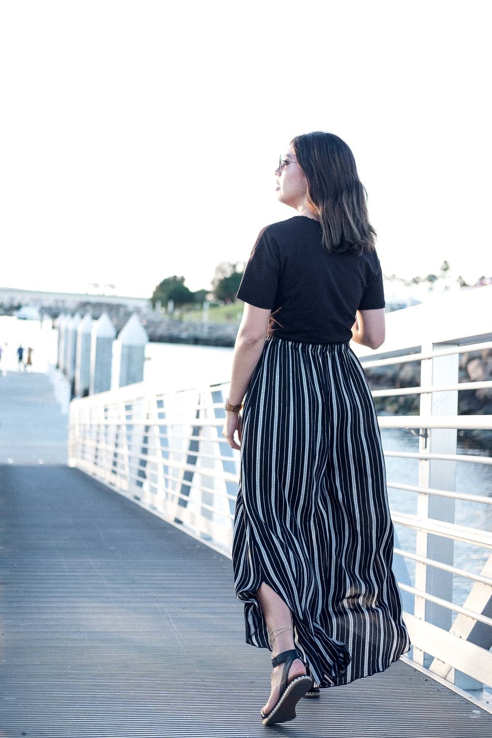 Rachel Off Duty: Striped Wide-Legged Pants