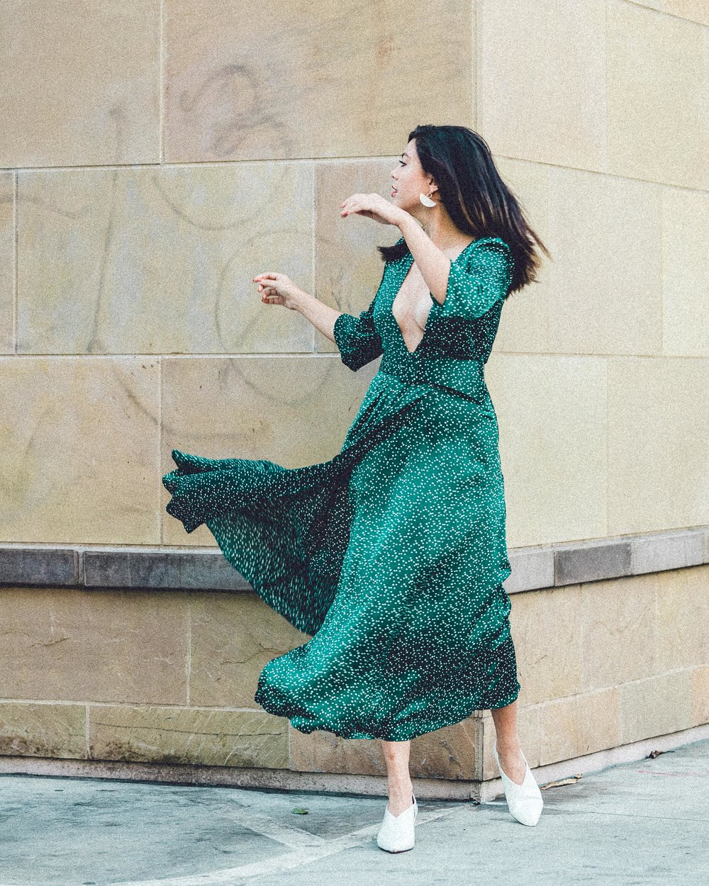 Rachel Off Duty: Holiday Party Inspo - Wear Emerald - Emerald Dress