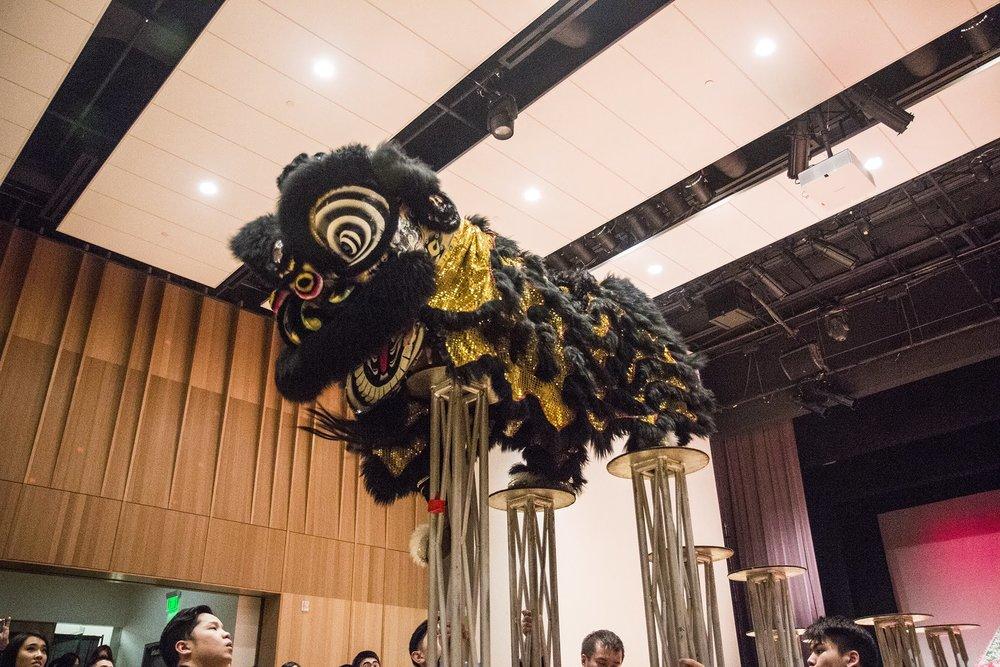 White Lotus Dragon & Lion Dance performing jongs at University of Oregon