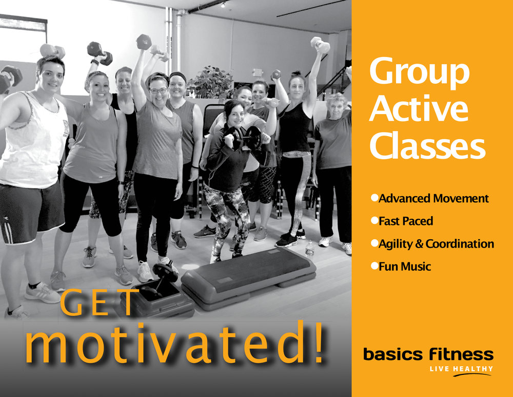 - Group Active gives you all the fitness training you need - cardio, strength, balance and flexibility; in just one hour. Get stronger, fitter, and healthier with inspiring music, weights, body weight, and simple athletic movements.