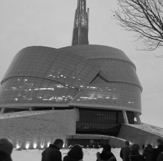 Visiting the Canadian Museum of Human Rights in Winnipeg.