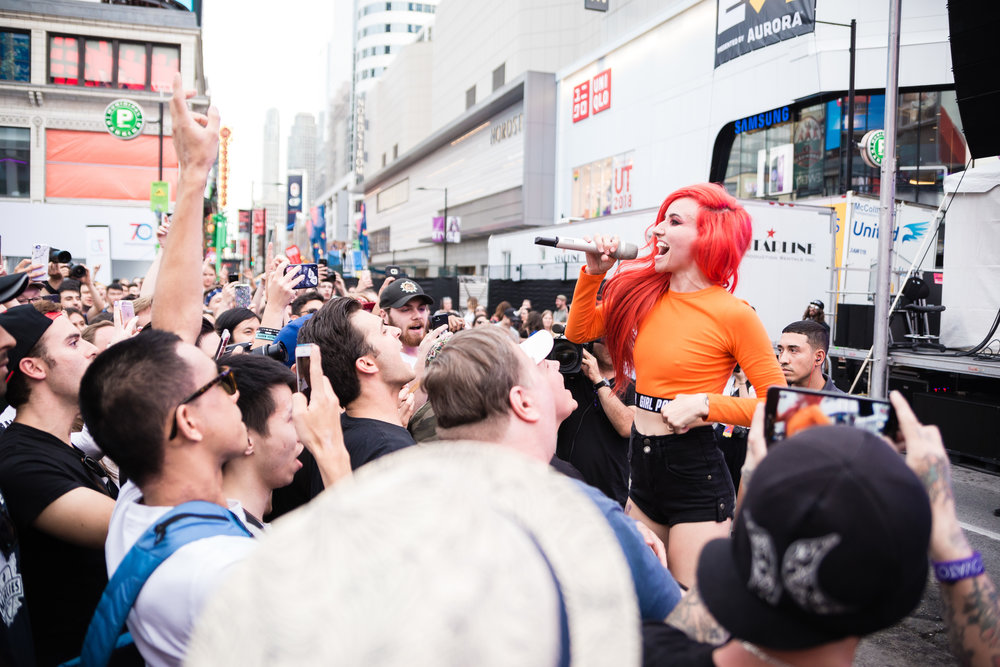 Lights was just one of the amazing acts that highlighted the NXNE Yonge Street Festival Village. Other great acts included: Chvrches, Big Freedia, Jazz Cartier, Azealia Banks, Yungblud, . U. S. Girls and many more.