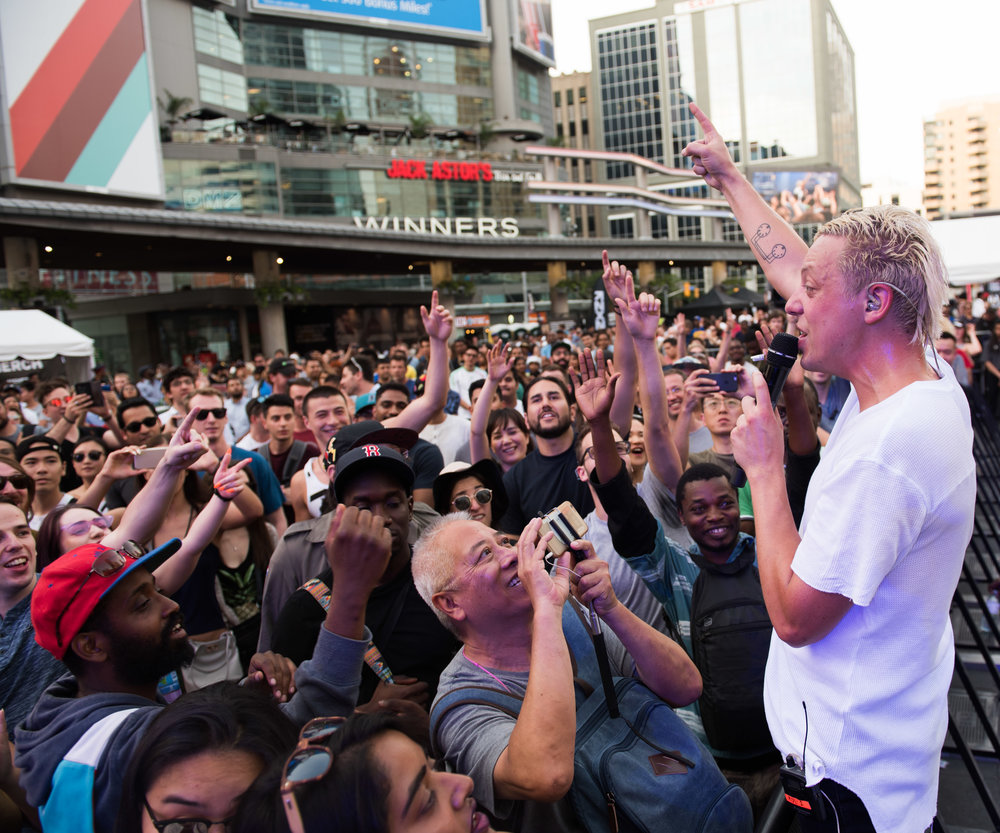 Robert De Long got the crowd going early at NXNE's Yonge Street Festival Village Sunday, June 17 before Big Freedia and Tinashe took over.
