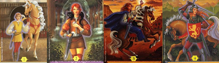 A banner image featuring the covers for each of the books in the Song of the Lioness quartet by Tamora Pierce.