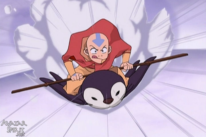 An image of Aang from Avatar: The Last Airbender riding a penguin to the rescue. Thank goodness he never gets any less weird.