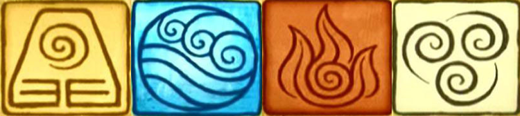 A banner image featuring the four element symbols from Avatar: The Last Airbender.