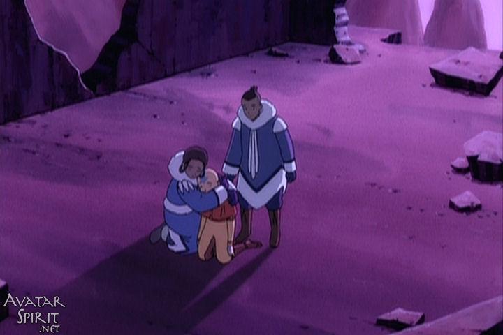 Katara, Sokka, and Aang have their first group hug. I'M STILL NOT CRYING