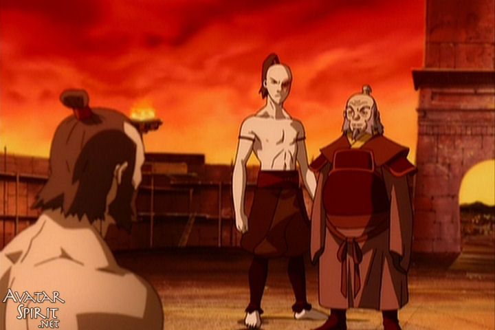 Zuko and Iroh face down Zhao after the Agni Kai. I always wondered why people went crazy for Zuko, but I guess he does get naked in the third episode. I always knew he was a cheap date.