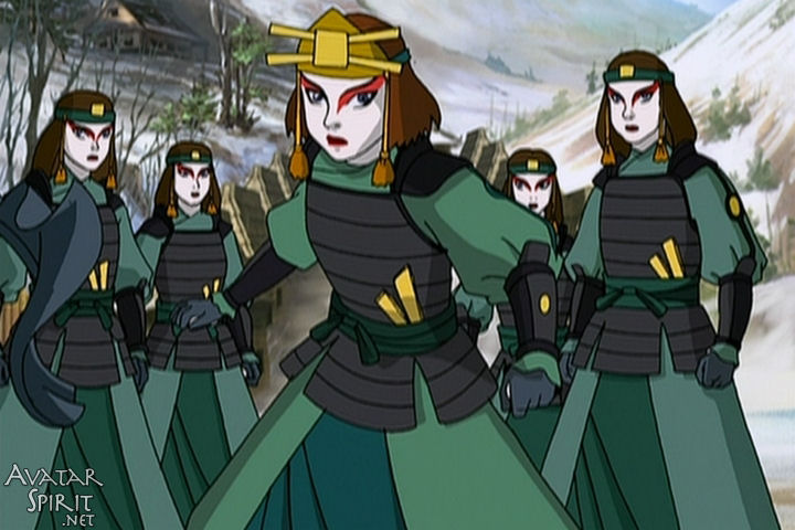 Suki and the other Kyoshi warriors. Suki is also my forever girl, although I wish she stayed this much of a stone-cold bitch throughout the rest of the series.