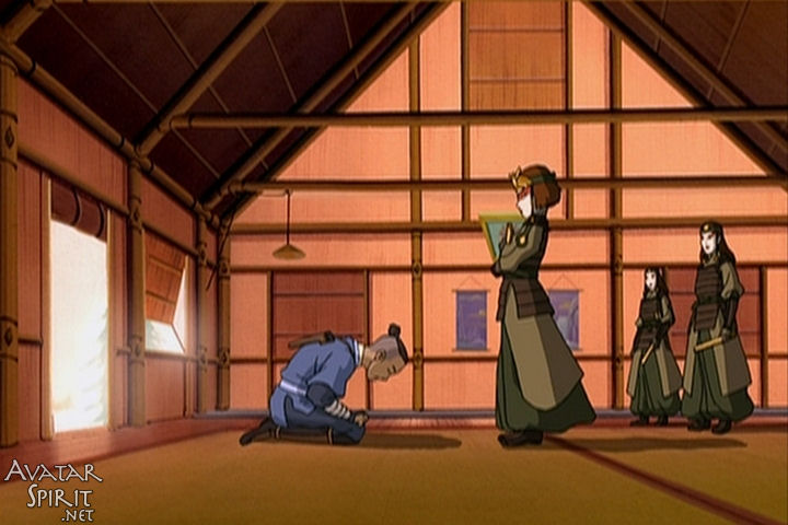 Sokka kneels in front of Suki to apologize. I feel like this is one of the only scenes I've ever seen where a guy seriously apologizes to a woman, but I may have blocked them out because they aren't as awesome as this one.