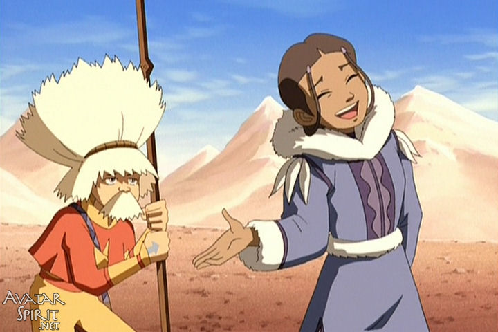 Katara laughs nervously while Aang pretends to be an old man. My favorite part is how she just goes with his ridiculous name without missing a beat. Truly meant to be.