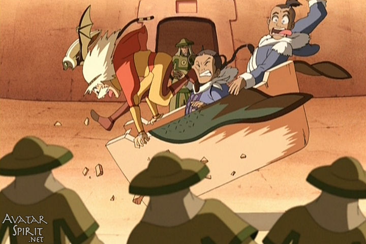 Aang, Katara, and Sokka crash land in front of a group of Earth Kingdom soldiers making ridiculous faces. This screenshot has nothing to do with what I'm talking about. It's just one of the greatest still frames of animation in existence.