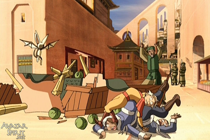 Aang, Sokka, and Katara lie in a pathetic heap in front of the Cabbage Man's ruined wagon. Nothing will ever top the perfection of this joke.