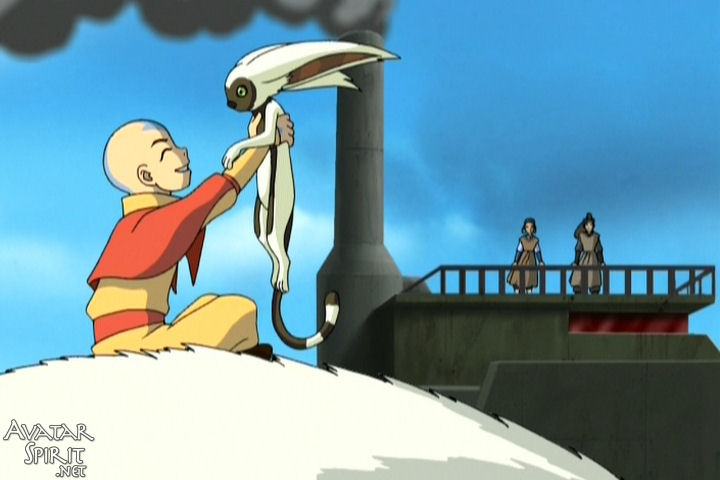 Aang holds up Momo and beams, while Katara and Haru look on. I mean, if I had a flying lemur, I'd probably spend all my time kissing it instead of accomplishing my grand destiny too.