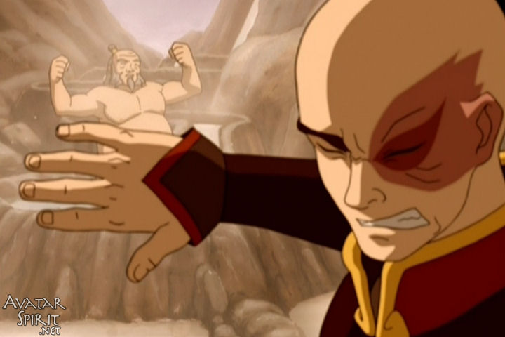 Zuko holds up one hand to block Iroh's magnificent bod. You know, for a kid's show, there are a lot of Iroh beefcake shots.