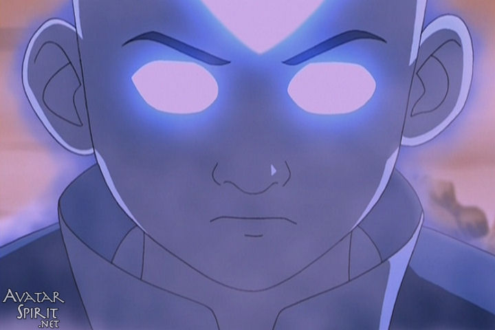 Aang looks dramatic in the Avatar state, with glowing eyes and tattoos. We can almost forget how ridiculous he is. Almost.