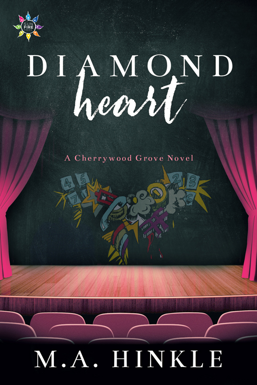 The cover for Diamond Heart by M.A. Hinkle, featuring a stage with curtains drawn back to reveal a heart made of graffiti.