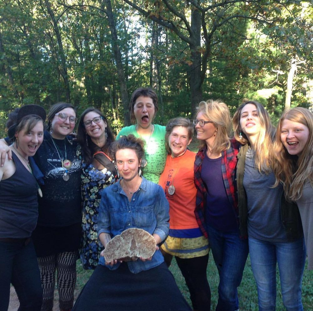 Ava Arvest of MycoUprhizal Olga Tzogas of Smugtown Mushrooms, Mara Penfield of Female & Fungi Rikki of the Mobile Moon Co-op, Danielle of DYI Fungi Tess Burzynski of Fungi Freights, Nicole McCalpin, and Alanna Burns