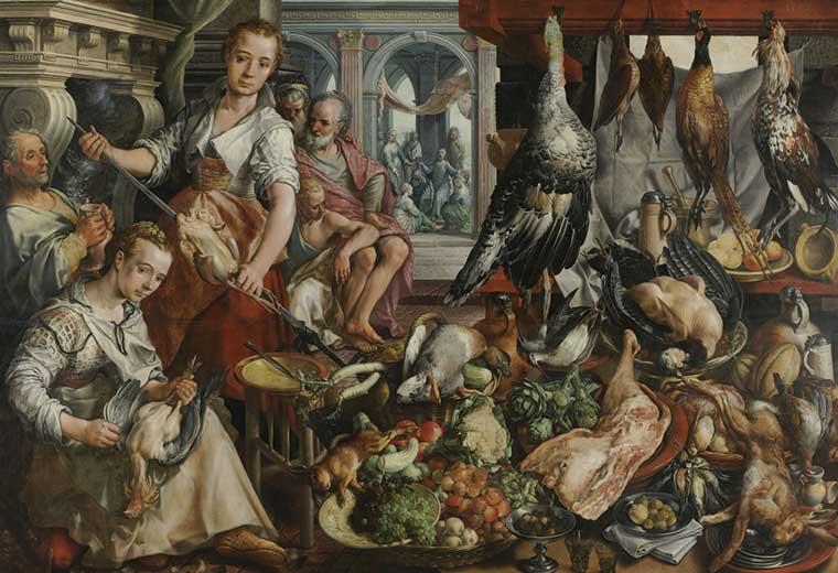 'The Well-stocked Kitchen', by Joachim Beuckalear (1566)