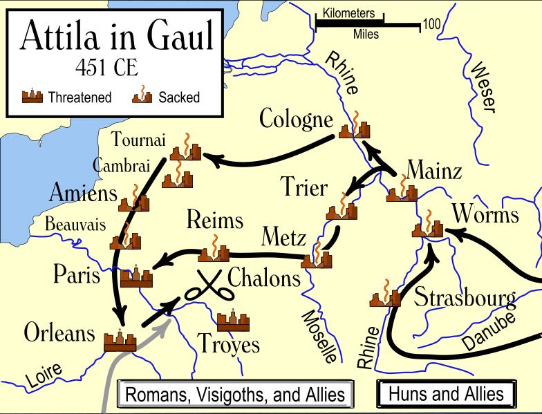 Attila's Campaign Path