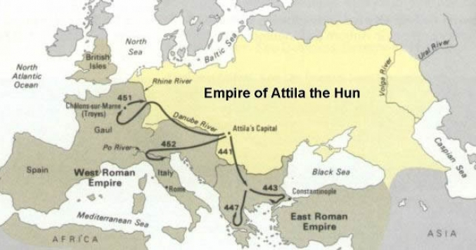 The Extent Of The Hun Empire