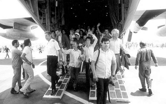The hostages exiting the plane once home.